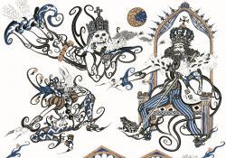 Villon-illusztráció, papír, tusrajz
