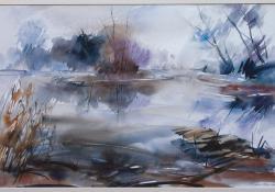 Víz mellett, 2007, akvarell, papír, 40x62 cm