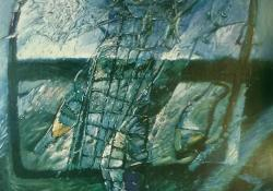 Vízszint, 1995, akril, farost, 110x110 cm