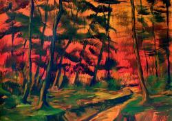 Vörös erdő, 2008, vászon, olaj, 50x60 cm