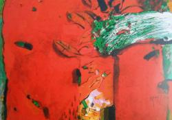 Vörös köd, 2008, vegyes t, vászon, 70x60 cm