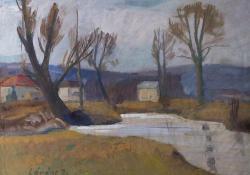 Zala folyó, 1930 k, tempera, papír, 48x63,5 cm