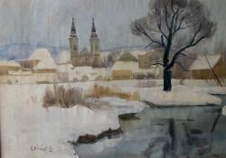 Zalaegerszeg téli látképe, 1930 k, akvarell, papír, 49x64 cm