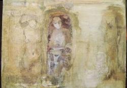 Zárvány, 2009, olaj + vegyes techn. falemez, 29x30,5 cm