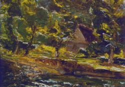 Zazar-parti fák házzal, olaj, karton, 24,5x29,5 cm