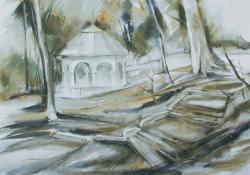 Zenepavilon, 2001, akvarell, papír, 79x55 cm