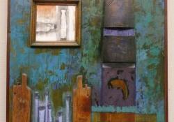 Zöld fal, vegyes techn, kollázs, fa