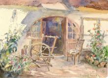 A keszthelyi egykori Halász-ház, 1942, papír, akvarell, 21x28 cm