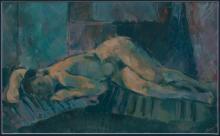 Akt, 1972, olaj, farost, 31x50 cm