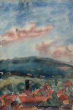Egerszegi látkép, 1930-as évek, papír, akvarell